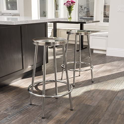 Christopher Knight Home Mayworth Chrome Barstools Set of 2 , White