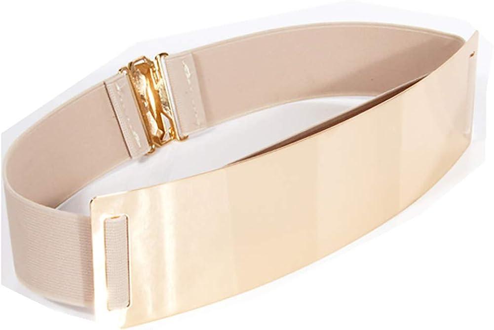 Ulalaza Cintura da donna elegante in metallo dorato con cinturino in metallo dorato G/ürtel Kette Kleid dekoriert