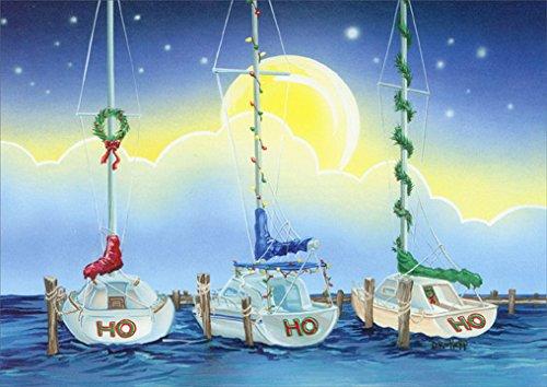 18 Christmas Cards and Envelopes, Ho Ho Ho Sailboats