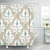 Breezat Shower Curtain Ethnic Ikat Damask Pattern Indonesia Flower Beach Geometric Waterproof Polyester Fabric 60 x 72 Inches Set with Hooks