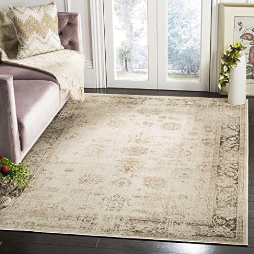 Safavieh Vintage Collection VTG117-440 Oriental Distressed Silky Viscose Area Rug, 8 x 10 , Stone