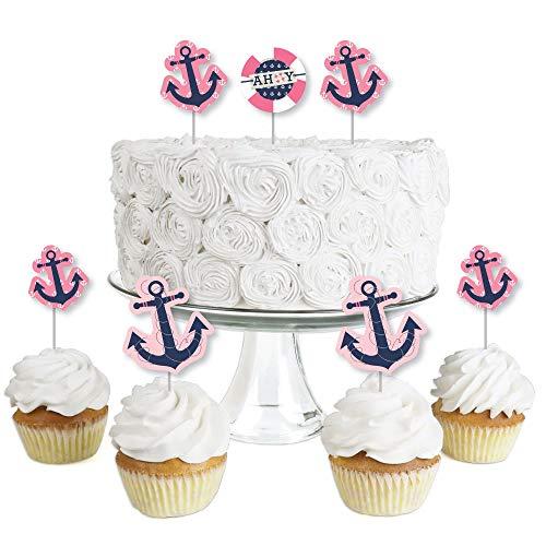 Ahoy - Nautical Girl - Dessert Cupcake Toppers