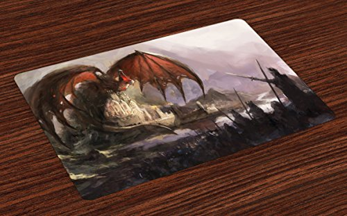 ce Mats Set of 4, Medieval Fantasy Dragon and Dark Knights Scene with Fortress Castle Mystical, Washable Fabric Placemats for Dining Room Kitchen Table Decoration, Grey Rustic Red (Dark Fortress Set)