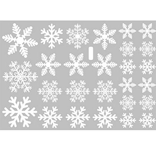 Zentto Wall Stickers Christmas Cute Snowflake Pattern Vinyl Wall Window Decals For Store Glass Festival Holiday Decorations Art Decals (White Snowflake)