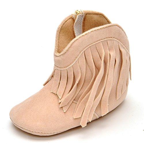 Estamico Soft Sole zapatos de bebé niña de alta botas con flecos rojo rosso Talla:12-18 meses Beige