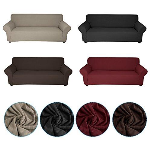 Auralum® Sofaüberwurf sofahussen 3 Sitzer kaffee elastisch 90% Polyester + 10% Spandex