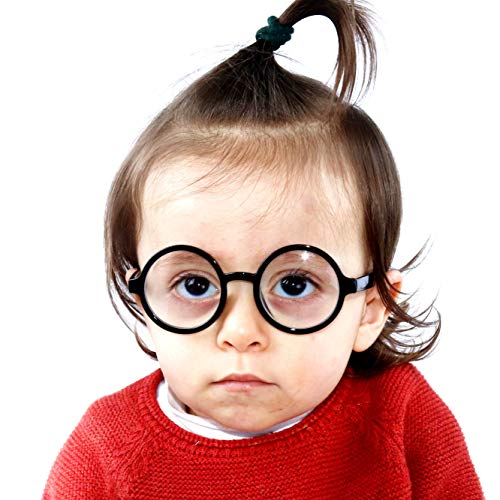 KD01 Babies infant (0~24 months old) Vintage Round Sunglasses (Black-Clear Lens, UV400) -