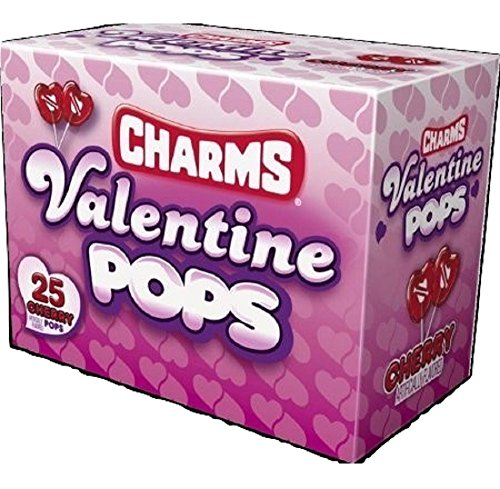Charms Valentines Cherry Pops Suckers 25 Count Class Box