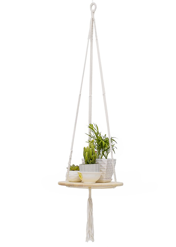 YXMYH Plant Hanger, Macrame Plant Hanger Shelf Hanging Planter Home Decor Cotton Cord and Pine Shelf -Boho Bohemian Home Decor 43 inches (Round)