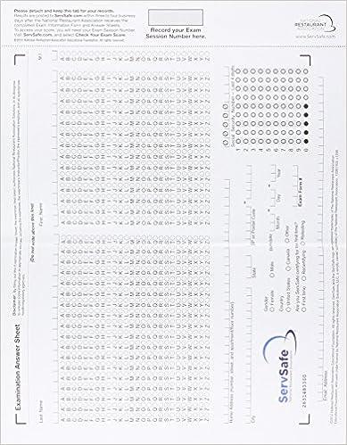 ServSafe Exam Answer Sheet For Pencil Paper Exam Stand