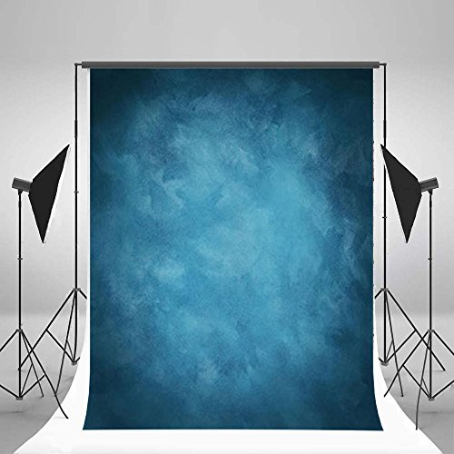 Laeacco Design 5x7ft Vinyl Photography Backdrops Solid Color Blurry Blue Personal Portraits Photo Background ,1.5x2.2m Studio Props by Laeacco