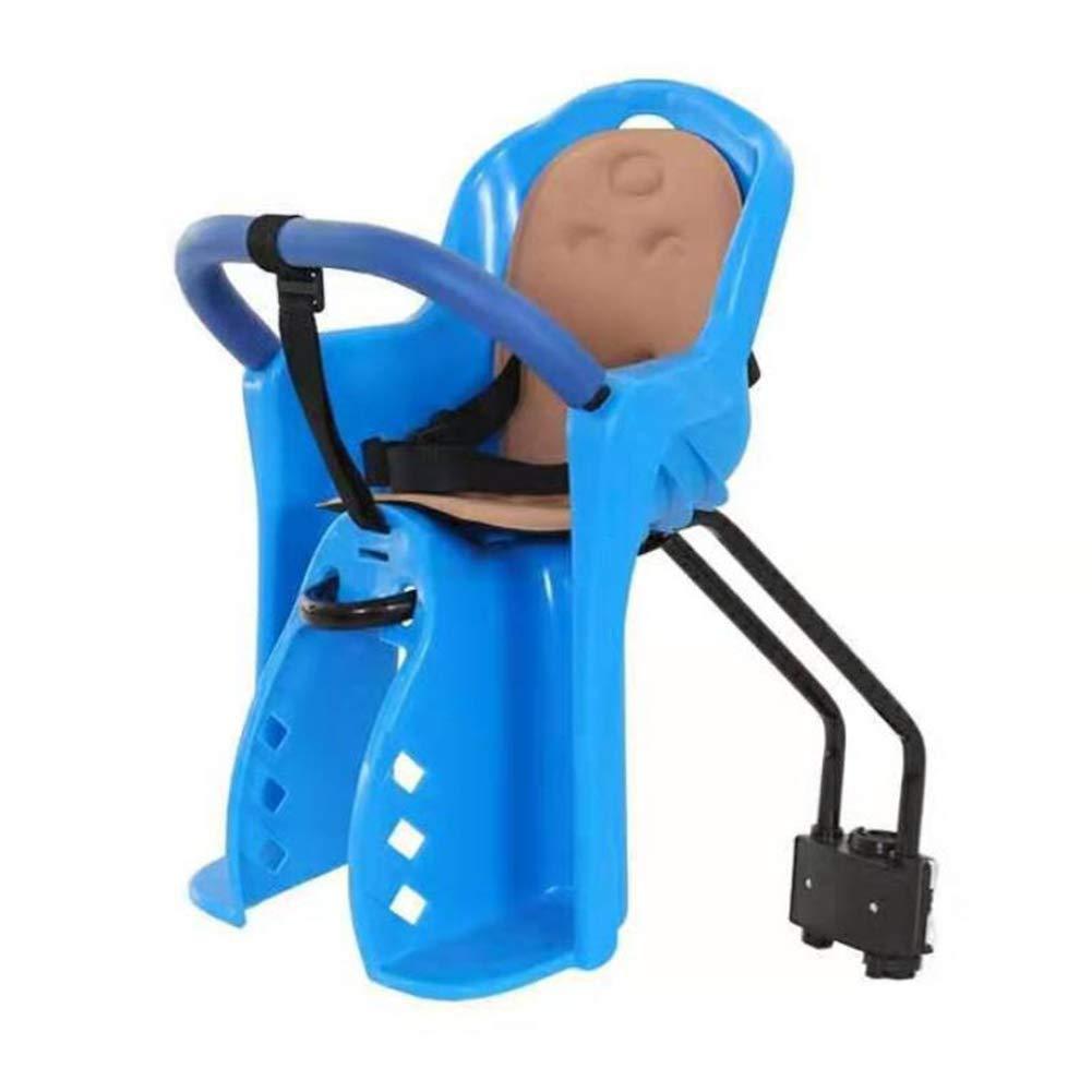 GFFLYY Fahrrad-Babysitz-Fronthalterung, Fahrradträger-Babysitz mit dem aufgefüllten und justierbaren bis 5 Punkt-Gurt, der für 0-3 Jahre alte Baby Blau