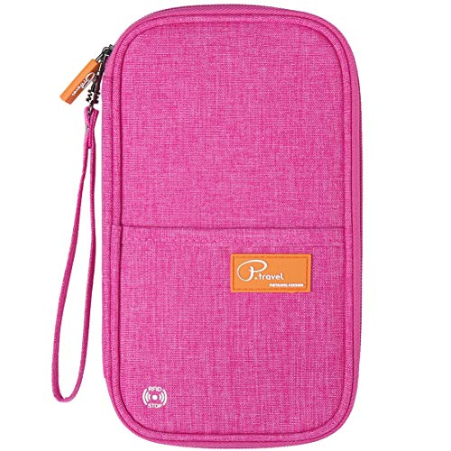 VanFn RFID Travel Passport Wallet, Family Passport Holder, Trip Document Organizer P.Travel Series (Rose Red)