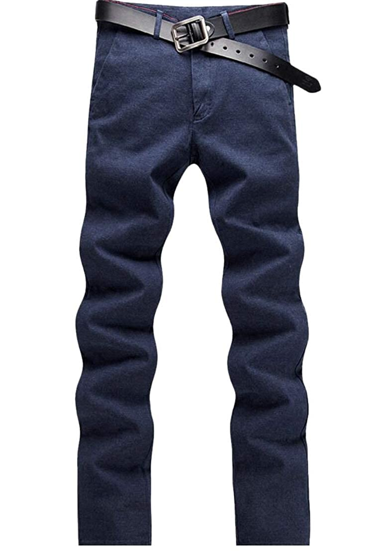 Generic Mens Straight Leg Business Leisure Slim Fit Pencil Solid Color Flat-Front Chino Pants