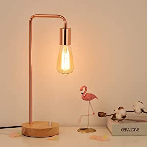 HAITRAL Vintage Table Lamp, Industrial Nightstand Lamp with Wooden Base, Metal Modern Bedside Lamp for Bedroom, Girls Room, Kids Room, Office - Rose Gold (Bulb Not Include)
