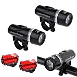 Hotkey® Bike Lights,2 x 5 LED Lamp Bike Bicycle Front Head Light +Rear Safety Waterproof Flashlight, Easy to Install Cycling Lights for Kids Men Women Road Cycling Safety Flashlight (Black)