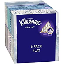 Kleenex Ultra Soft Facial Tissues, Medium Count Flat, 170 ct, 6 Pack. Designs May Vary