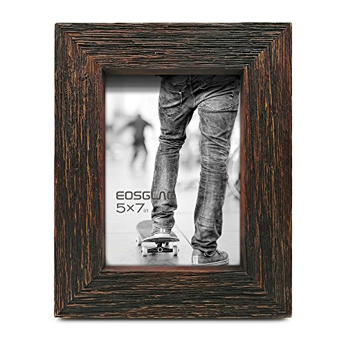 Eosglac Rustic Picture Frame 5x7, Weathered Dark Brown Reclaimed Look Wooden Photo Frame, Table Display with Easel ()