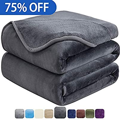 HOZY Soft Queen Size Blanket for Fall Winter Spring All Season Warm Fuzzy Microplush Lightweight Thermal Fleece Summer Autumn Blankets for Couch Bed Sofa,90x90 Inches,Dark Gray