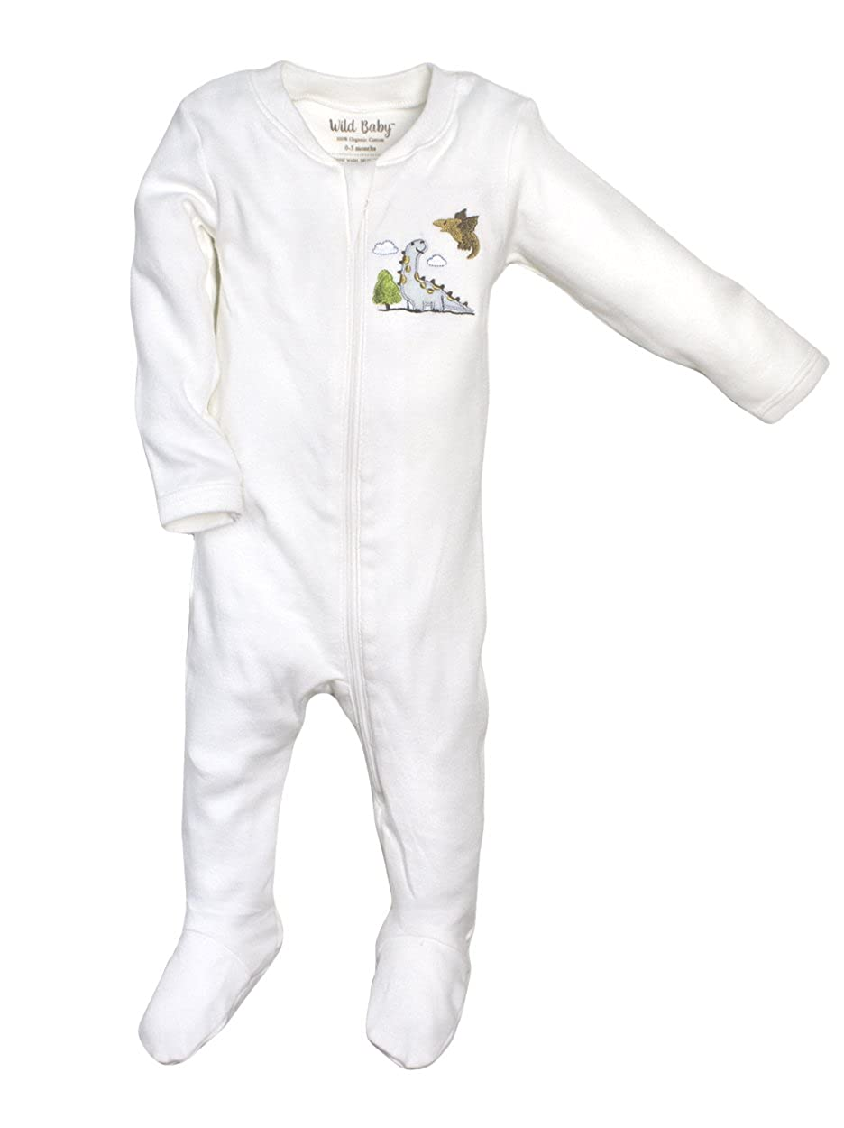 WILD BABY Organic Cotton Zipper Baby Footie with Gift Box