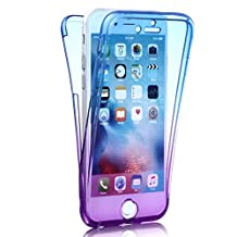 iPhone 5 5S Case, Sunroyal Full Coverage 360 degree Front And Back Ultra Slim 2 in 1 Clear Protective Phone Cover Shockproof TPU Gel Transparent Soft Anti Scratch Case for iPhone 5 5s SE - Gradient Blue Purple
