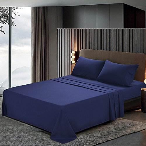 htovila 110 GSM Bed Sheet Set - Brushed Microfiber 2100 Bedding - Wrinkle, Fade, Stain Resistant - Hypoallergenic - 4 Piece(Blue, Queen) (Bed Twister Sheets)