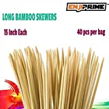 "Best Marshmallow Roasting Sticks With 40 Thick Bamboo Barbecue Shrimp Bbq Kabob Shish Kebab Smores Skewers 15"" Long Fondue Skewers & Hot Dog Grill Disposable Nontoxic All Natural by Enji,craft camping"