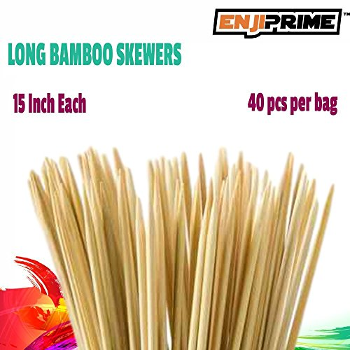 Best Marshmallow Roasting Sticks With 40 Thick Bamboo Barbecue Shrimp Bbq Kabob Shish Kebab Smores Skewers 15