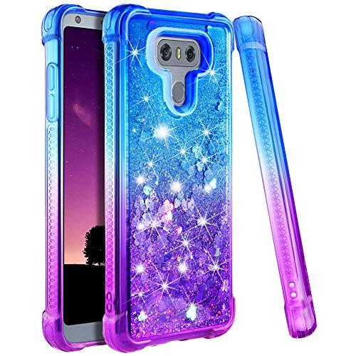 LG G6 Case, LG G6 Glitter Case, Ruky Gradient Quicksand Series Bling Sparkly Flowing Liquid Floating Soft TPU Bumper Cushion Reinforced Corners Women Girls Cute Case for LG G6 (Blue Purple)