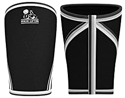 Elbow Sleeves (1 Pair) Support & Compression for Weightlifting, Powerlifting, Cross Training & Tennis - 5mm Neoprene Sleeve the Best Brace -Women & Men -by Nordic Lifting - 1 Year Warranty,Black, XL