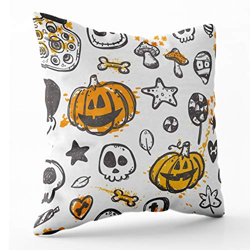 Crannel Art Pillow Case Double-Sided Printing Pillowcase 16X16 Inch Throwing Cushion Halloween Pattern Your Ghost Pumpkin Bone Lantern Candy Skull Invisible Zipper Square Decorative Home -