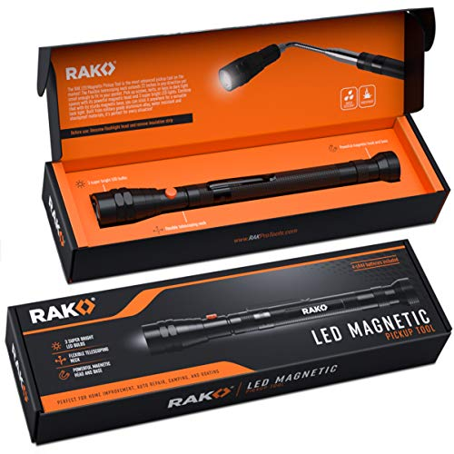 RAK Magnetic Pickup Tool with LED Lights - Telescoping Magnet Pick Up Gadget Tool - Unique Christmas Gift for Men, DIY Handyman, Father/Dad, Husband, Boyfriend, Him, Women (For Gifts Him 2019 Christmas)