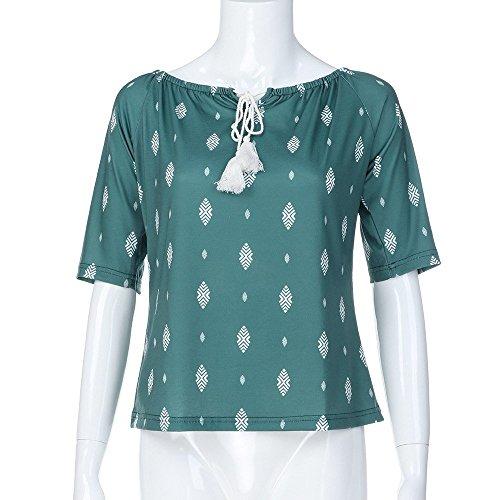Impression RTro Lace Pull 2018 Haut Bohme Fleuri Shirt Demi Green Nouvelle Femme Chemisier Occasionnels LGant Top Haute Chandail Manches T Dames lache Chemisier Chic Blouse tq0wavIxF