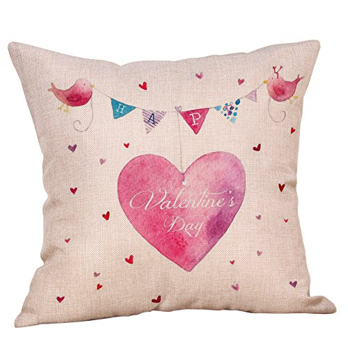(iYBUIA Happy Valentine's DecorativeThrow Pillow Case Sweet Love Square Cushion Cover45x45 cm)