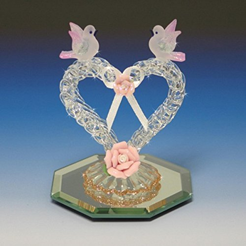 Handmade Glass Heart with two doves and porcelain flowers (Porcelain Dove)