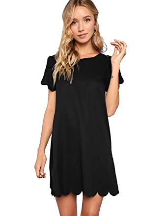31de5245e08e Romwe Women s Short Sleeve Casual A Line Scalloped Hem Dress Black S