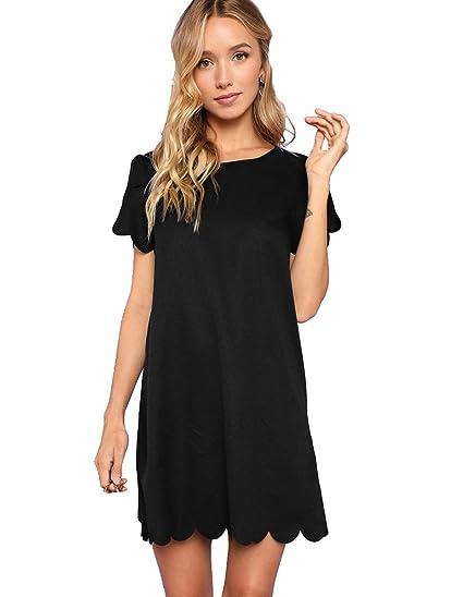 9a88ce2ff01 Romwe Women's Scalloped Short Sleeve Shift Little Cocktail Party Dress