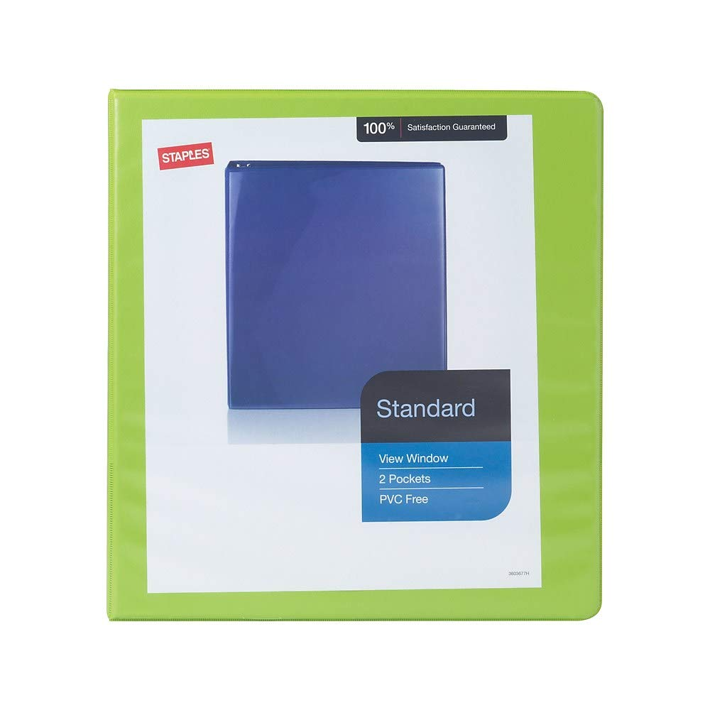 Bright Green 1-1//2 Staples Standard View Binder with D-Rings
