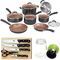 Cuisinart 11pc Ceramica XT Non-Stick Cookware Set with Deco Gear Knife Set Bundle