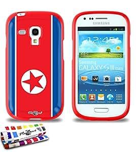 Carcasa Flexible Ultra-Slim SAMSUNG GALAXY S3 MINI ( I8190 ) de exclusivo motivo [Bandera Corea del Norte] [Roja] de MUZZANO  + ESTILETE y PAÑO MUZZANO REGALADOS - La Protección Antigolpes ULTIMA, ELEGANTE Y DURADERA para su SAMSUNG GALAXY S3 MINI ( I8190 )