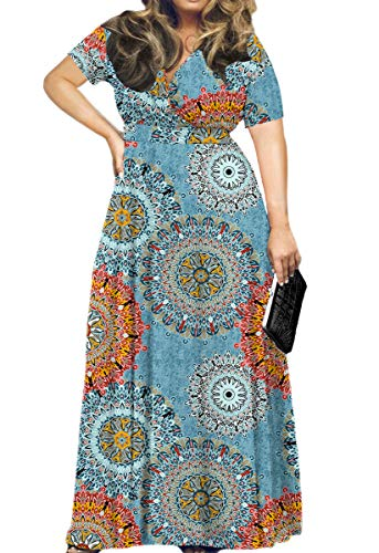 HWOKEFEIYU Women's Short Sleeve Loose Plain Maxi Dresses Casual Long Dresses(Floral Multiple Blue,XL)