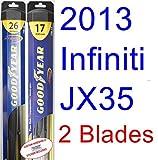 2013 Infiniti JX35 Replacement Wiper Blade Set/Kit (Set of 2 Blades) (Goodyear Wiper Blades-Hybrid)