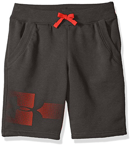 (Under Armour Boys Rival Graphic Fleece Short, Charcoal (020)/Radio Red, Youth X-Small)