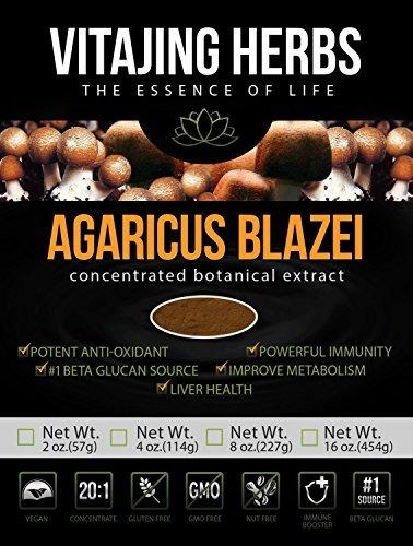 Agaricus Blazei Murill Mushroom Extract Powder - Organic - (2oz / 57gr) - 20:1 Concentration by (Agaricus Blazei Mushrooms)