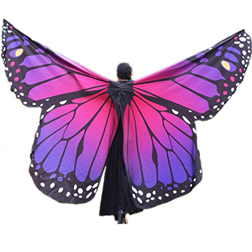 Demon Baby 2018 Women's Angel Belly Dance Isis Wings Butterfly Wings Women's Day Gift,(Rose Red;No Sticks)