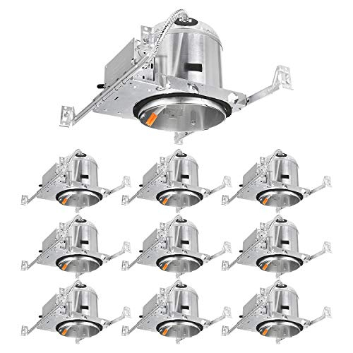 TORCHSTAR 6 Inch LED Ceiling Recessed Housing for New Construction, IC Rated, Air Tight, TP24 Quick Connector, ETL-Listed, Aluminum, 2 Years Warranty, Pack of 10