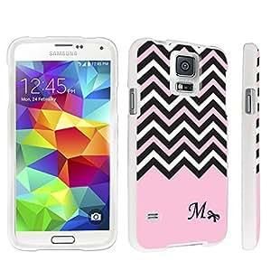 DuroCase ? Samsung Galaxy S5 Hard Case White - (Black Pink White Chevron M)