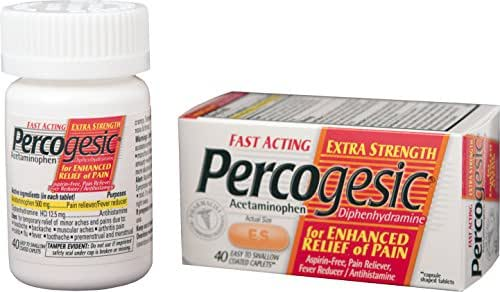 Percogesic Extra Strength Pain Relief | Aspirin Free Dual Action Relief | 40 Coated Caplets