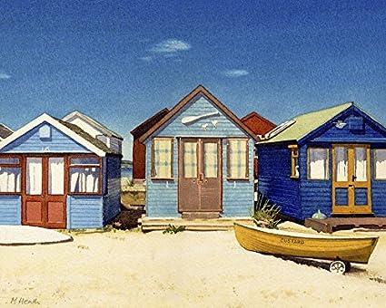 Margaret Heath Tres Diseño De Casetas de Playa Lienzo Prints, poliéster,, 40 x