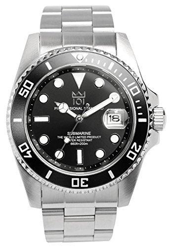 HYAKUICHI 101 Men's 20BAR Quartz Stainless Steel Black Professional Diver Watch